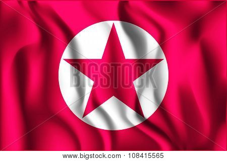 North Korea Variant Flag. Rectangular Shape Icon with Wavy Effect poster