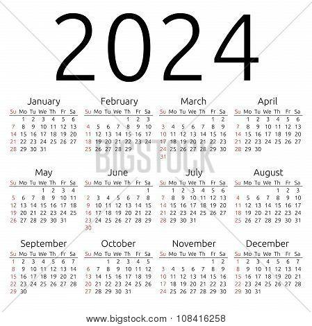 Vector Calendar 2024, Sunday