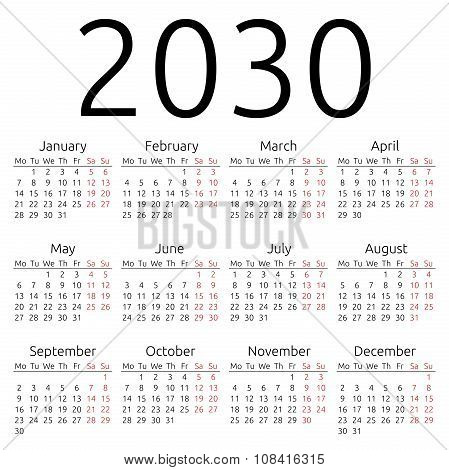 Simple Calendar 2030, Monday