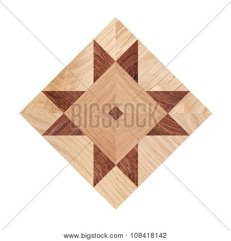 Fragment of parquet floor isolated on white background poster