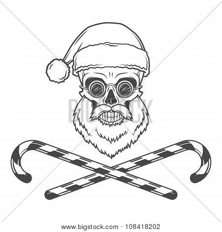 Bearded Skull Santa Claus with candy canes and grasses poster. Vintage Christmas old man portrait. X