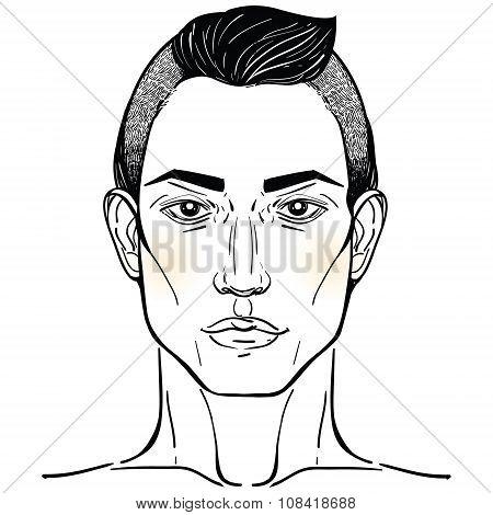 Handsome Arab or Hispanic mans head template.