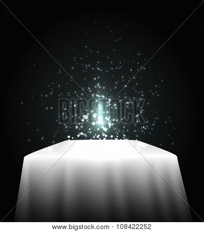 white table with shining and lights