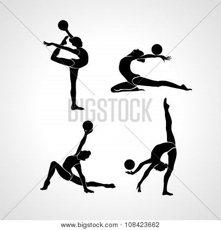 Silhouettes Of Gymnastic Girls. Art Gymnastics With Ball, Vector Illustration Set