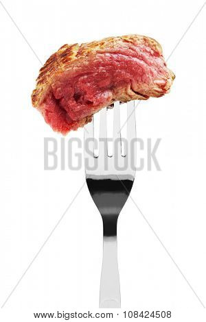 Piece of rare fried steak on a fork, isolated on white
