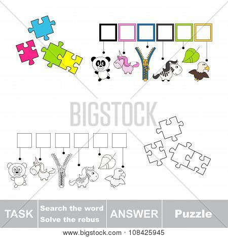Vector game. Find hidden word Puzzle. Search the word.