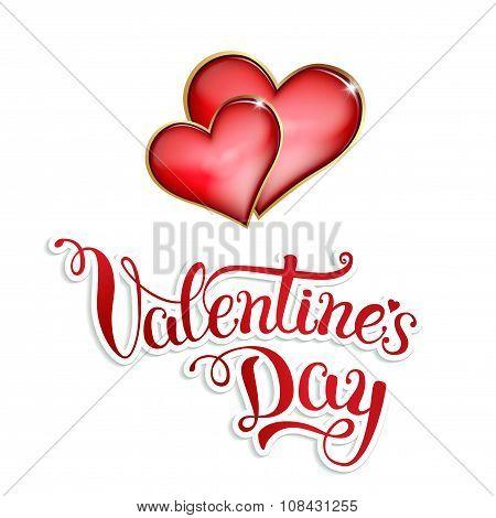 Original Hand Lettering Happy Valentine's Day On White Background