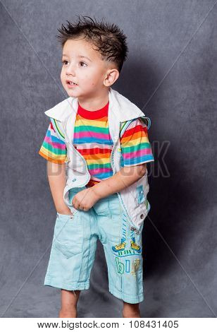 searching expiration. boy fashion portrait. Child model.