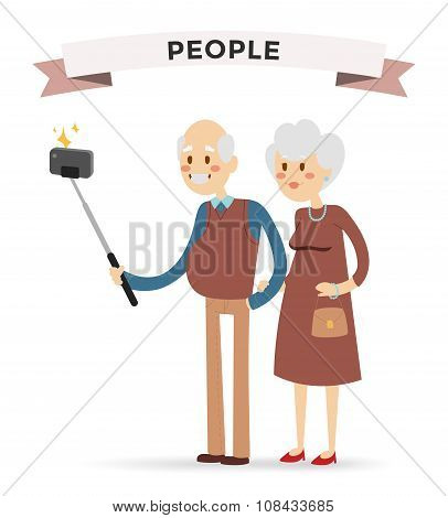 Selfie photo shot grandpa and grandma vector portrait illustration