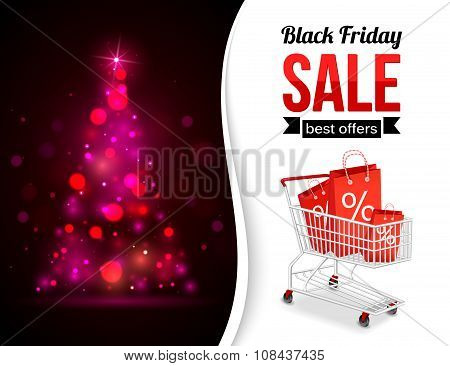Black Friday Sale shining typographical background with xmas tree lights, shopping cart and place fo