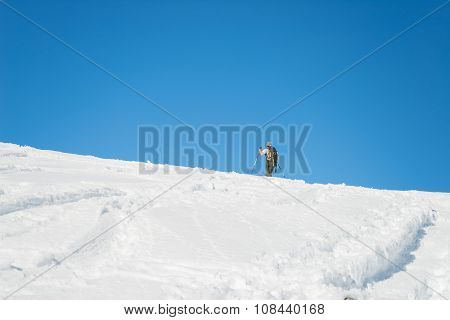 Alpine Ski Touring Towards The Summit