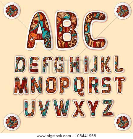 Zentangle alphabet colored letters stickers set