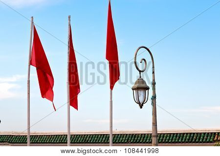 Tunisia  Waving Flag In  And Street Lamp