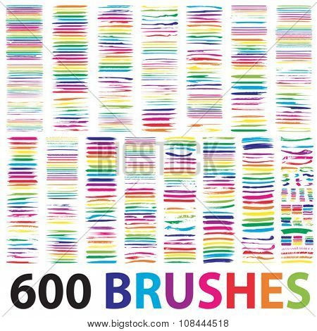 Vector very large collection or set of 600 artistic colorful multicolored paint hand creative brush strokes isolated on white background, metaphor to art, grunge, grungy, education or abstract design