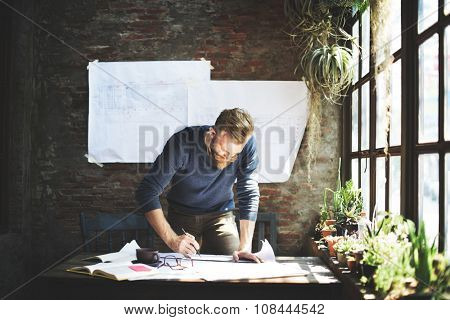 Man Working Determine Workspace Lifestyle Concept