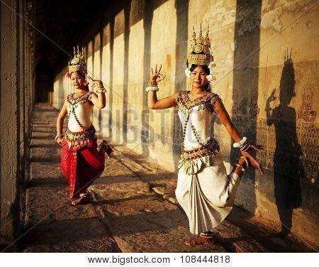 Aspara Dancer Angkor Wat Sepia Toned Traditional Concept