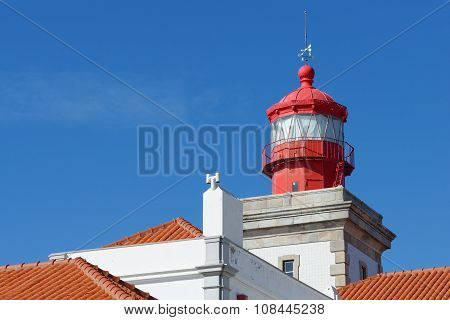 Lighthouse top in Cabo Da Roca Portugal. Cabo da Roca is the most westerly point of the Europe mainl