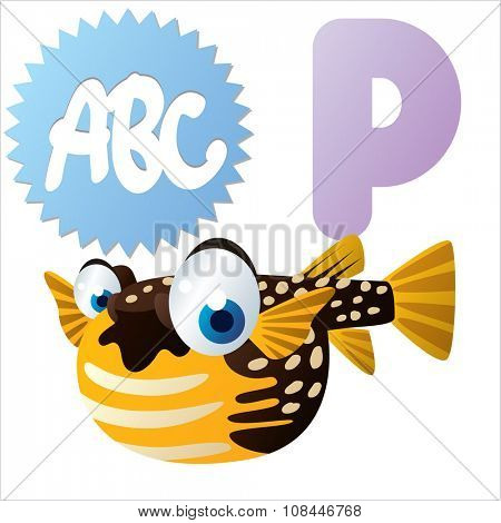 Vector comic funny cartoon animals alphabet: P is for Pufferfish
