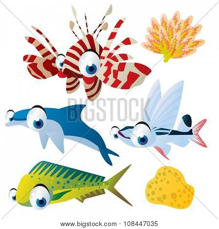 cute vector comic cartoon fish set: collection of sea life animals for children book illustration, flash card games, stickers or mobile applications: coryphaena, zebra fish, coral, dolphin, sailfish