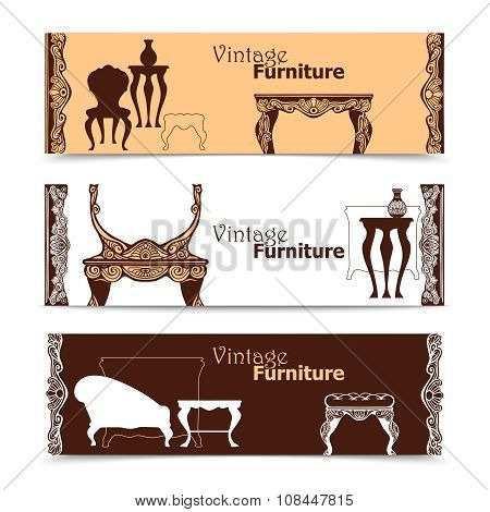Hand drawn vintage furniture  horizontal banners in  baroque style  vector illustration poster