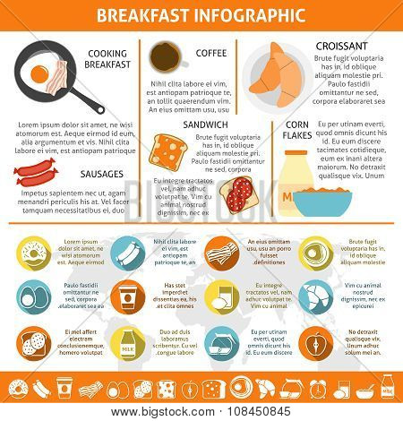 Breakfast Flat Color Infographic