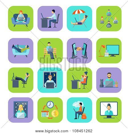 Freelance Flat Color Icon Set