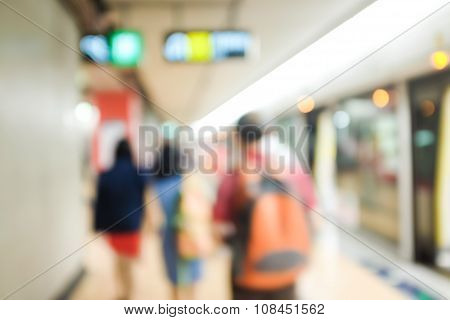 Defocused and blurred image for background of hongkong MTR transit poster