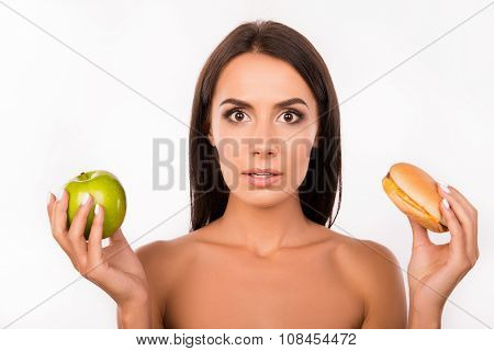 Hard Choice: Apple Or Burger, Flustered Girl Decided To Go On A Diet