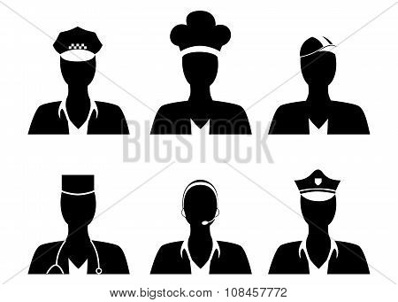 the set in black with men of different professions. poster