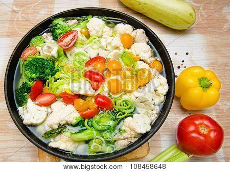 Colorful Fresh Stewed Vegetables On Pan