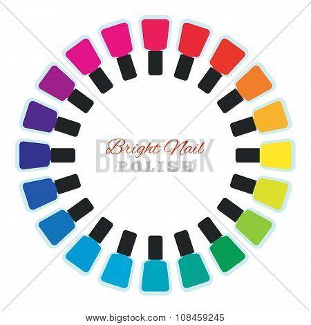 Group of  nail polish bottles set in a circle