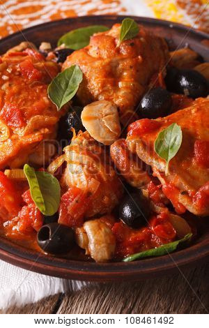 Italian Food: Chicken Cacciatori On A Plate Close-up. Vertical