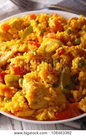 Arroz Con Pollo - Rice With Chicken In A Bowl Macro. Vertical