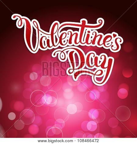 Original Hand Lettering Happy Valentine's Day On Crimson Background.