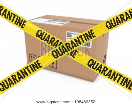 Dangerous Parcel Concept - Cardboard Box Behind Quarantine Tape Cross