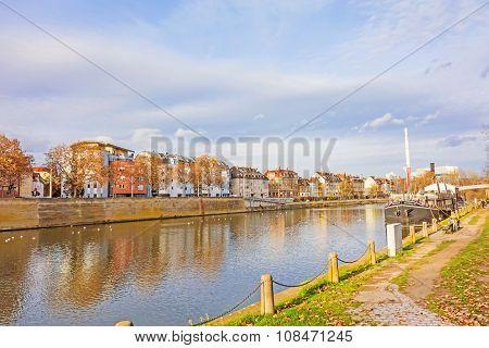 City Stuttgart - Bad Cannstatt, River Neckar