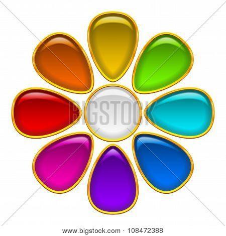 Button, Colorful Flowe
