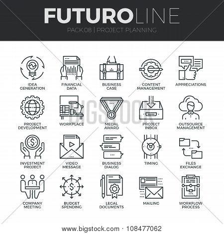 Project Planning Futuro Line Icons Set