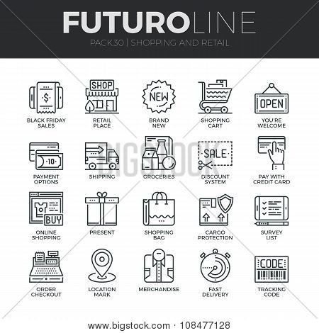 Shopping And Retail Futuro Line Icons Set