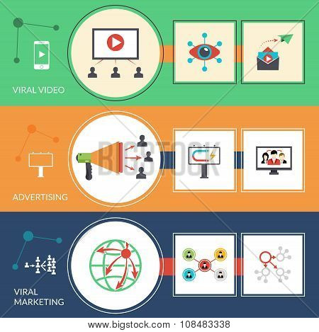 Viral marketing replicating buzz advertisement strategy social networks technique flat horizontal banners set abstract isolated vector illustration poster
