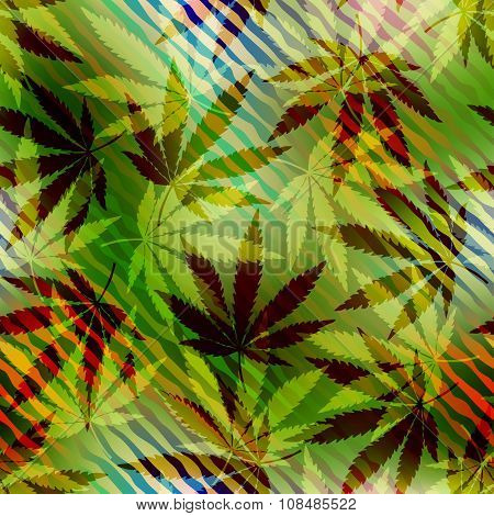 Hemp leaves on blurred