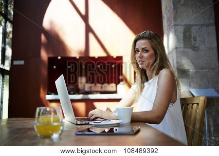 Beautiful Sweden woman sitting front open laptop computer in modern coffee shop interior