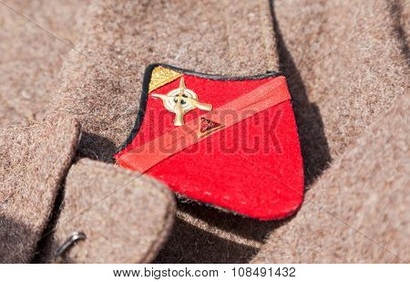 Distinctive Sign On An Old Greatcoat Of Russian Red Army