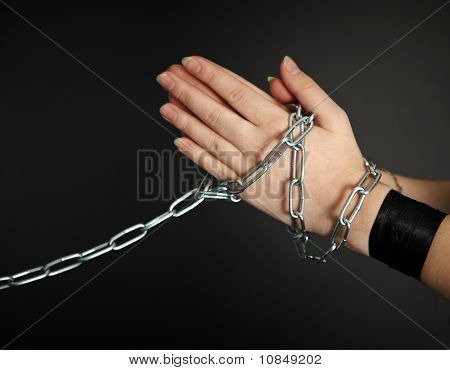 Women's Hands Shackled A Metal Chain