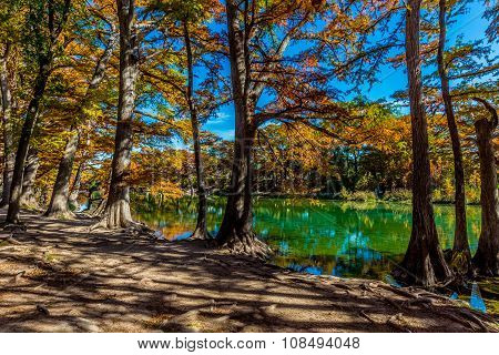 Fall on the Frio River at Garner State Park, Texas