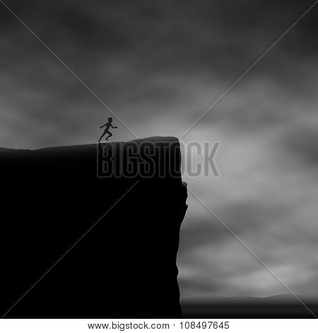 EPS8 editable vector illustration of a boy running towards a cliff edge made using a gradient mesh