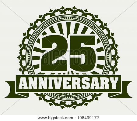 Vintage Anniversary 25 Years Round Emblem With Rays. Retro Styled Vector Background In Green Tones O