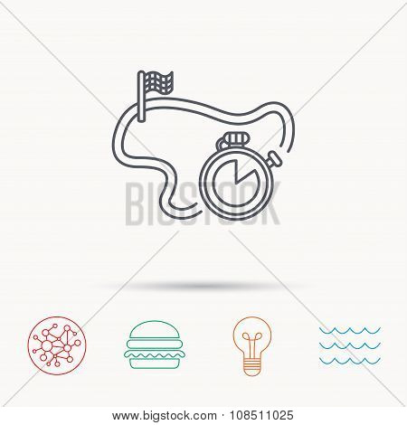 Race road icon. Finishing flag with timer sign. Global connect network, ocean wave and burger icons. Lightbulb lamp symbol. poster
