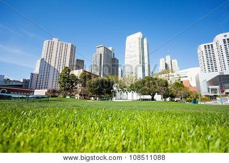 Grass in Yerba Buena Gardens park during day