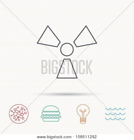 Radiation icon. Radiology sign. Global connect network, ocean wave and burger icons. Lightbulb lamp symbol. poster